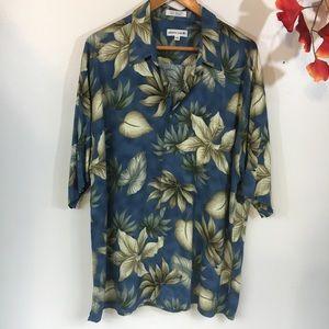 Pierre Cardin Blue Floral Vintage Style Shirt XXL